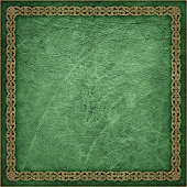 High Resolution Green Animal-skin Parchment with Decorative Arabesque Gilded Border