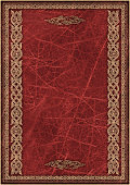 High Resolution Maroon Animal-skin Parchment with Arabesque Gilded Decorative Pattern