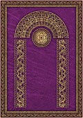 High Resolution Medieval Arabesque Gilded Pattern on Animal-skin Purple Parchment