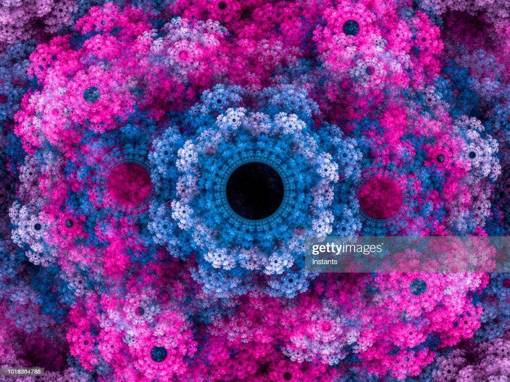 高解像度マルチカラー フラクタル背景: 花の花束を思い出させるパターン。 : ストックフォト