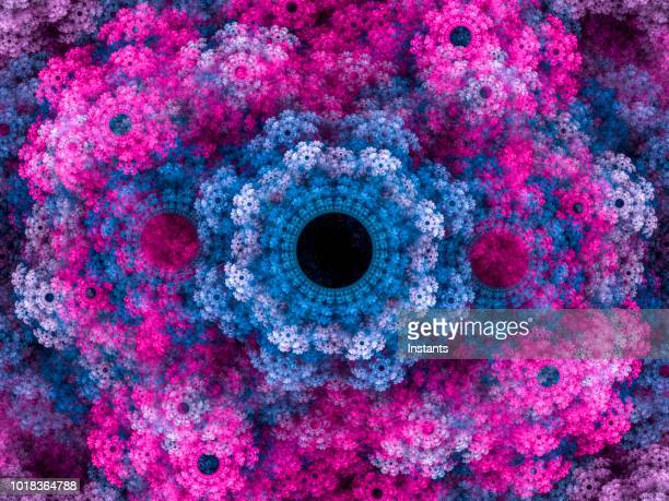 high resolution multi-colored fractal background, which patterns remind of a flower bouquet. - motivo floreale foto e immagini stock