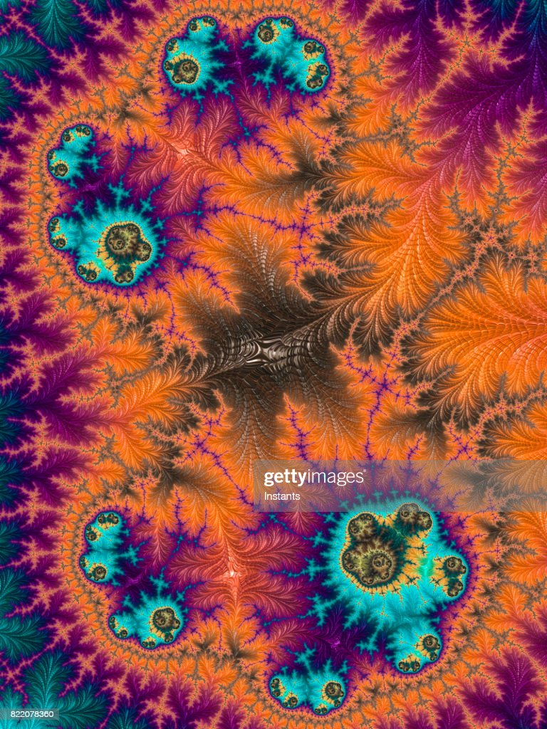 High resolution multi-colored fractal background, which patterns remind the ones of a cell seen in a microscope. : Stock Photo
