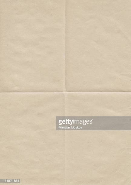 high resolution old beige paper creased grunge texture - folded stock photos and pictures