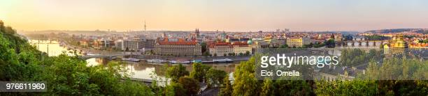 high resolution panoramic view of prague in the morning. czech republic - prague stock pictures, royalty-free photos & images