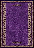 High Resolution Purple Animal-skin Parchment with Arabesque Gilded Decorative Pattern