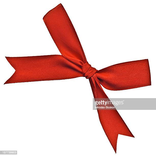 High Resolution Red Ribbon Bownknot Isolated on White Background
