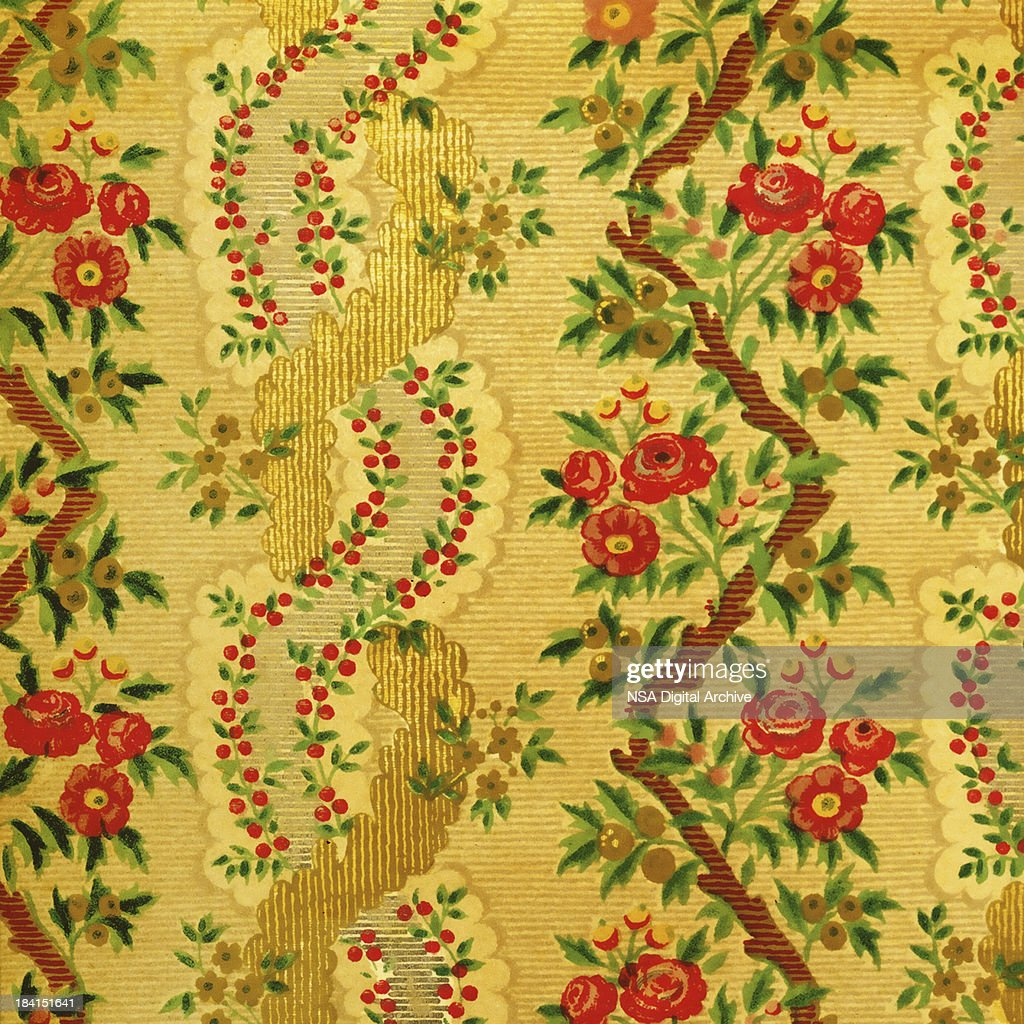 High Resolution Vintage Wallpaper With Flowers High Res Stock