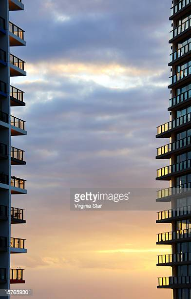 High rise apartment buildings at sunset