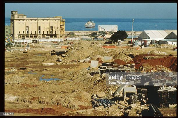 A high rise building overlooks a bombed section of the city January 13 1997 in Beirut Lebanon The Bourse de Beyrouth was closed in 1983 during...