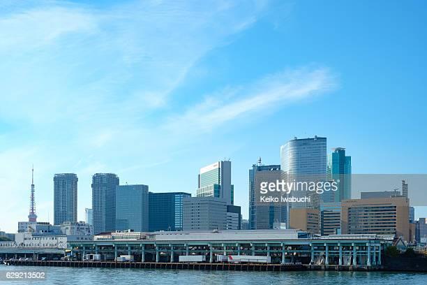 High rise buildings and Tsukiji fish market