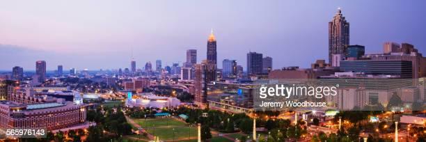 High rise buildings in Atlanta cityscape at night, Georgia, United States