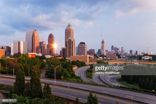high rise buildings in atlanta cityscape, georgia, united states - atlanta skyline stock pictures, royalty-free photos & images