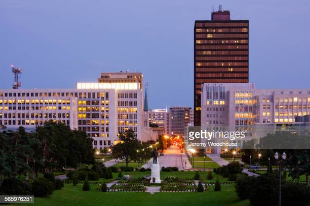 High rise buildings in Baton Rouge cityscape illuminated at night, Louisiana, United States