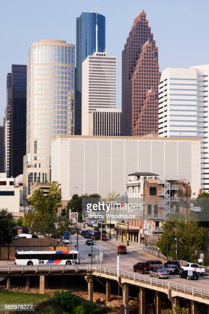 high rise buildings in houston cityscape, texas, united states - houston stock pictures, royalty-free photos & images