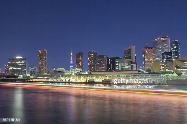High rise buildings in Tokyo Tsukiji at night