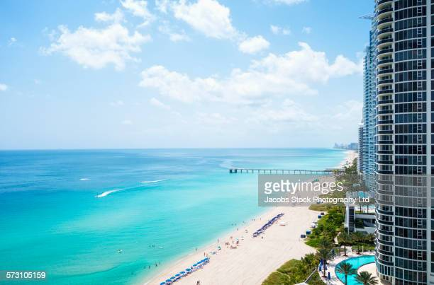 High rise buildings on Miami beachfront, Florida, United States