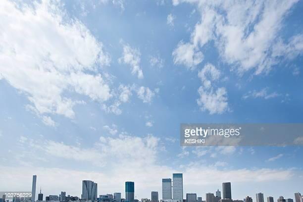 High rise buildings under sky, copy space, Tokyo prefecture, Japan