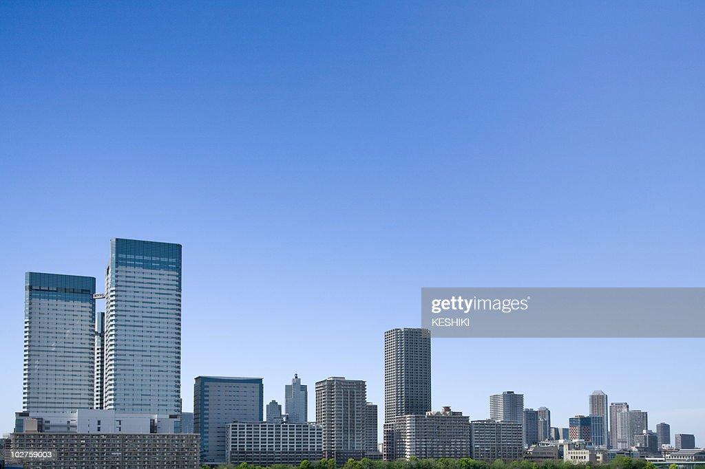 High rise buildings under sky, copy space, Tokyo prefecture, Japan : Stock Photo