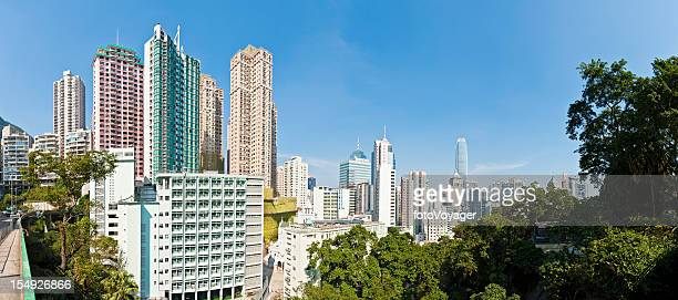 high rise cityscape skyscrapers apartment blocks panorama hong kong china - kowloon peninsula stock pictures, royalty-free photos & images
