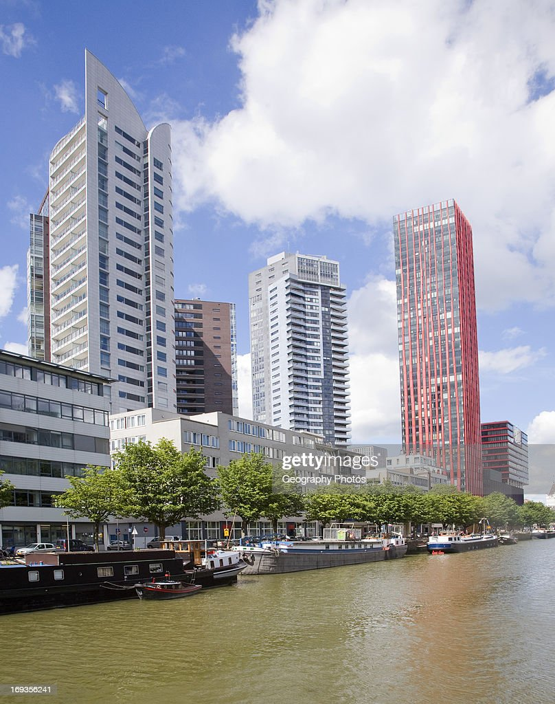 High Rise Office Blocks And Red Apple Residential Apartments From  Scheepmakers Haven Rotterdam Netherlands
