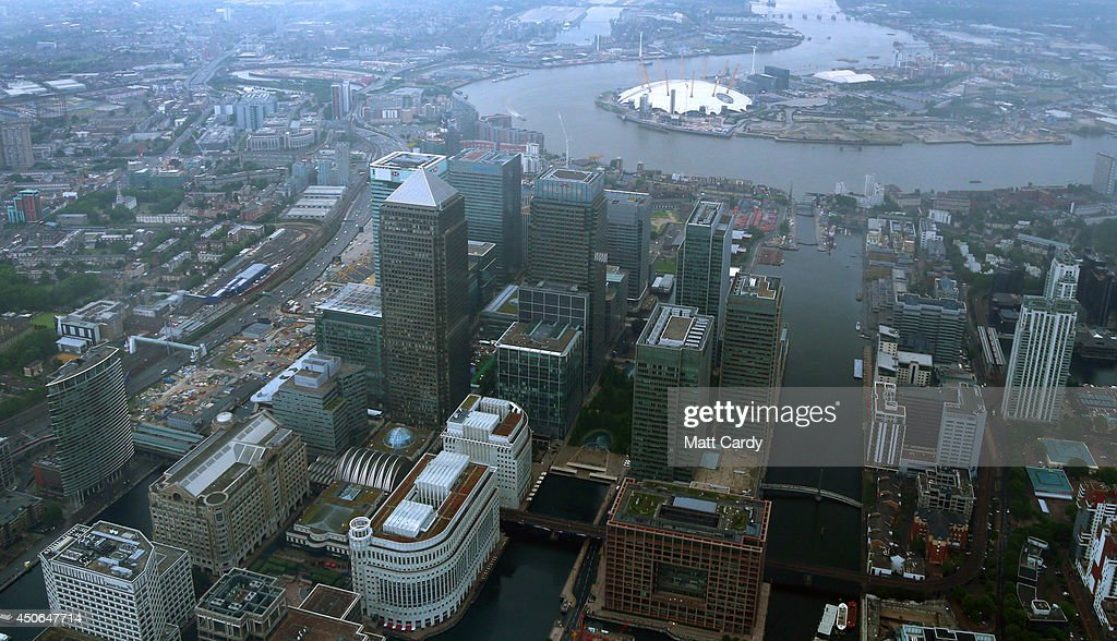 High rise office buildings are seen in the Canary Wharf area of London from the air on June 14, 2014 in London, England.