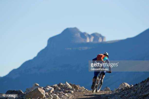 high rockies trail - mountain bike ride - taking a corner stock pictures, royalty-free photos & images