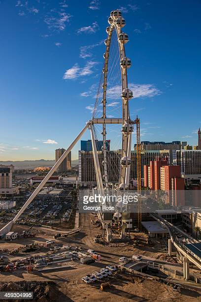 High Roller the world's largest Ferris wheel is under construction just to the east of Harrah's and The Flamingo Hotels on December 14 2013 in Las...