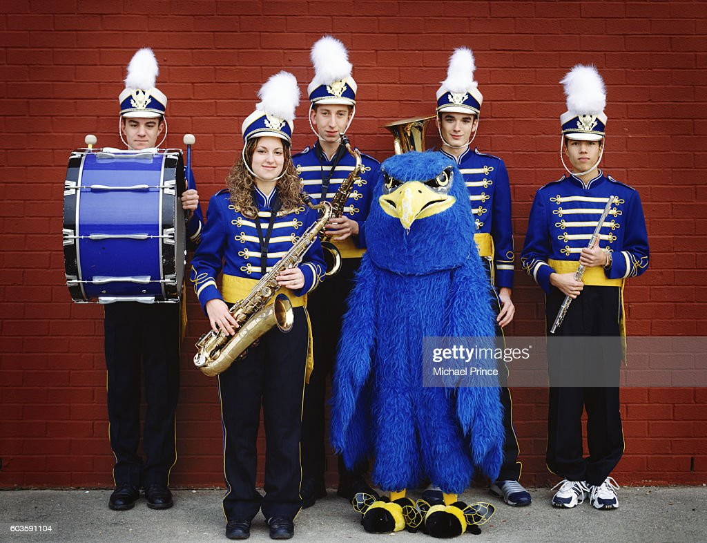 High School Band Members and Mascot : Stock Photo