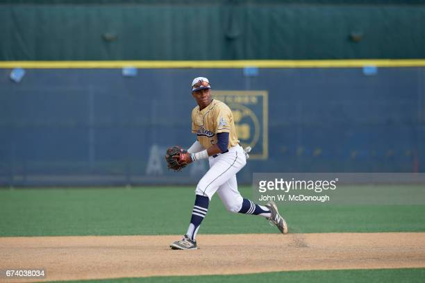 Notre Dame HS Hunter Greene in action fielding groundball at shortstop during photo shoot at Marine Corps Memorial Stadium Greene is a potential No 1...