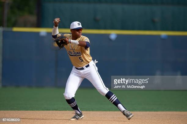 Notre Dame HS Hunter Greene in action making throw from shortstop during photo shoot at Marine Corps Memorial Stadium Greene is a potential No 1...