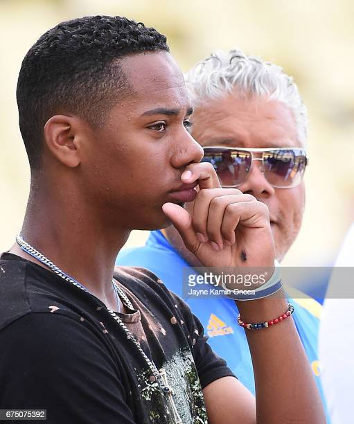 High School baseball player Hunter Greene from Stevenson Ranch CA is the possible first overall pick in the 2017 MLB draft He watches batting...