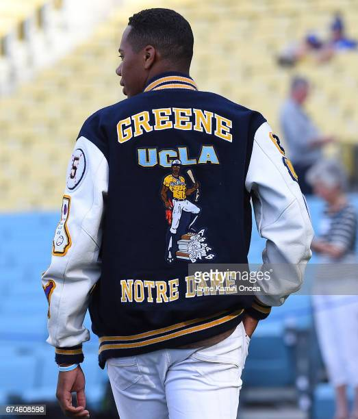High School baseball player Hunter Greene from Stevenson Ranch CA the possible first overall pick in the 2017 MLB draft watches batting practice...