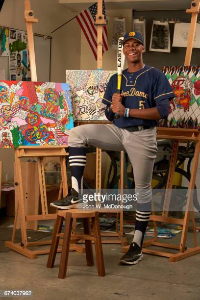 Portrait of Notre Dame HS Hunter Greene posing with artwork he painted during photo shoot at home Greene is a potential No 1 overall pick in this...