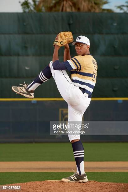 Portrait of Notre Dame HS Hunter Greene posing in action on mound during photo shoot at Marine Corps Memorial Stadium Greene is a potential No 1...