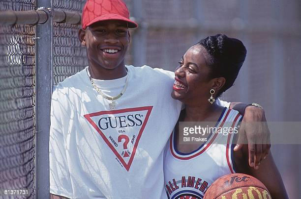 High School Basketball Closeup portrait of Nike HS All Star Allen Iverson with mother Ann Hampton VA 7/14/1993