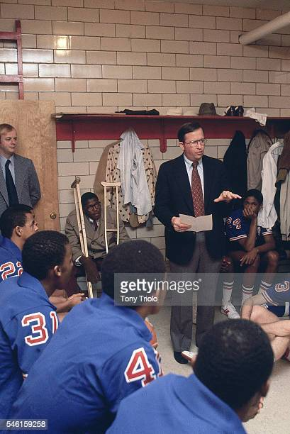 DeMatha HS coach Morgan Wootten in locker room with players before game Hyattsville MD CREDIT Tony Triolo