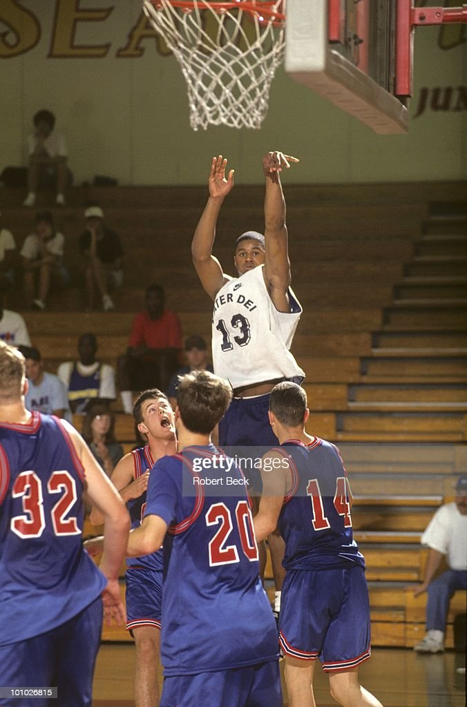Mater Dei HS Schea Cotton (13) in action, shot during tournament at Ocean View High. Huntington Beach, CA 7/13/1994