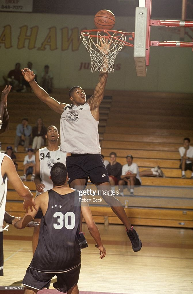 Values Better America Schea Cotton (44) in action, dunk during tournament at Ocean View High. Huntington Beach, CA 7/13/1994