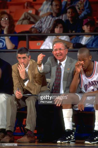 Legends Tournament DeMatha coach Morgan Wootten victorious on bench during game at WilkersonGreines Activity Center Fort Worth TX CREDIT Phil Huber
