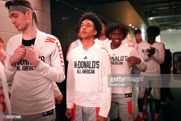 McDonalds AllAmerican Game West Team Tre Mann of The Villages Charter HS and Tyrese Maxey of South Garland HS in tunnel before game vs East Team...