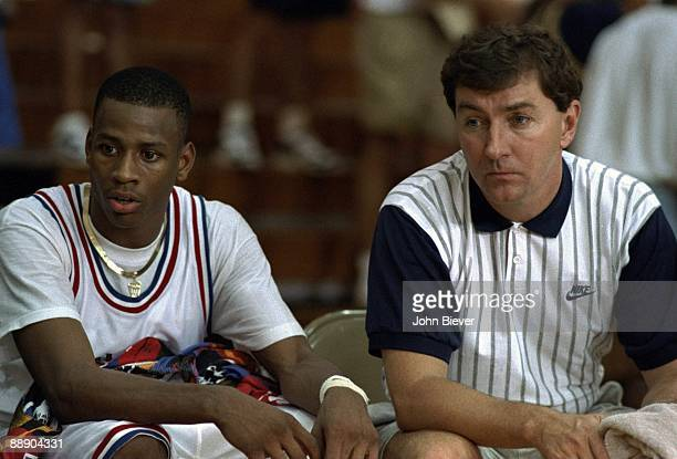 Nike AllStar Tournament Bethel HS Allen Iverson with camp administrator Rich Schenbrook at Hoosier Dome Indianapolis IN 7/10/1993 CREDIT John Biever