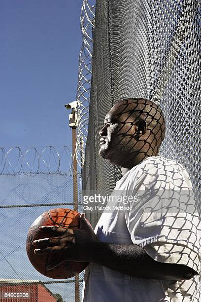 Portait of former North Jackson High player Robert Collier on Jackson County Jail basketball court In 1992 NJHS beat Fort Payne HS with only two...