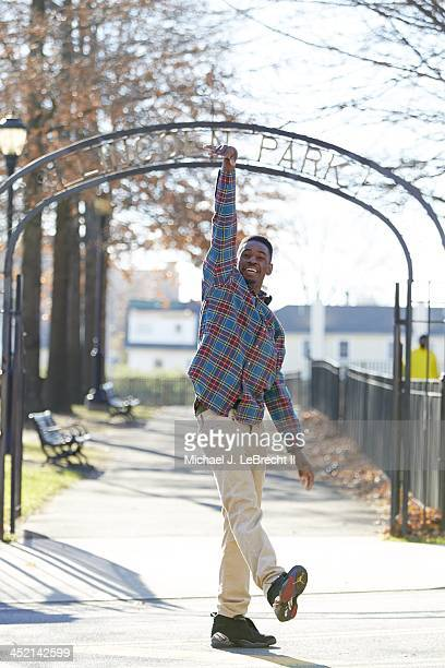 Portrait of New Rochelle High senior Khalil Edney during photo shoot at Lincoln Park Edney became a viral video sensation after making a last second...