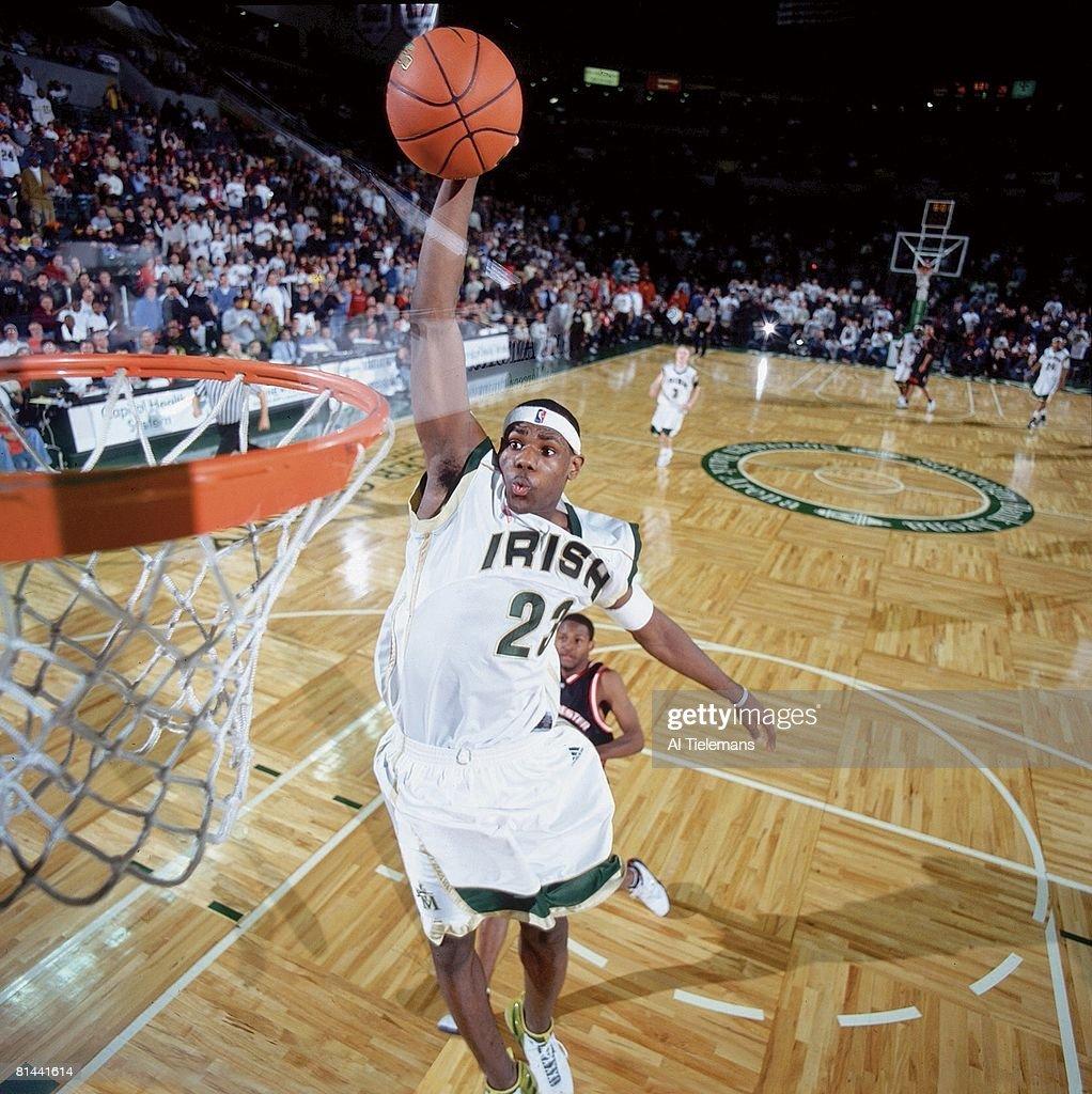 Prime Time Shootout, St, Vincent-St, Mary LeBron James in action, making dunk vs Westchester, CA, Trenton, NJ 2/8/2003