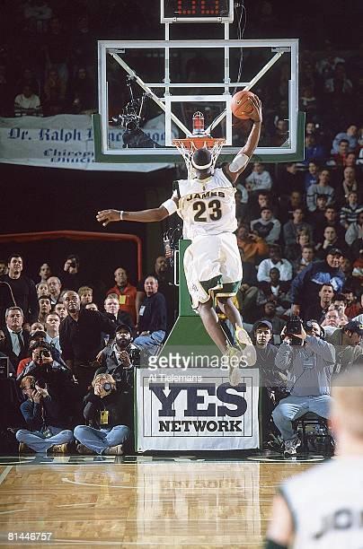 High School Basketball Prime Time Shootout St VincentSt Mary LeBron James in action making dunk vs Westchester CA Trenton NJ 2/8/2003