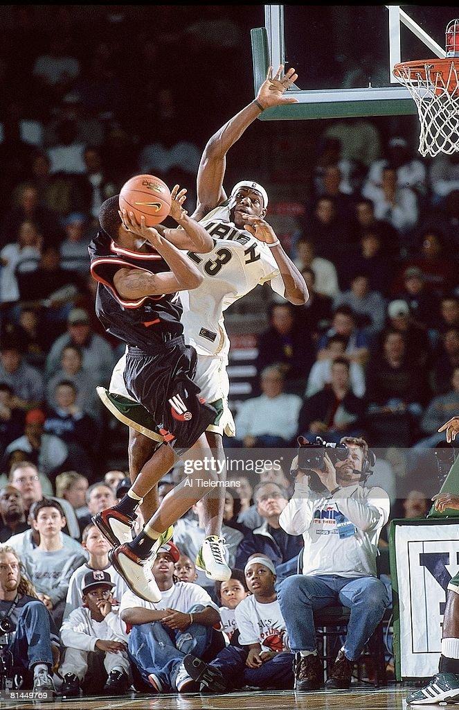 Prime Time Shootout, St, Vincent-St, Mary LeBron James in action, making block vs Westchester, CA, Trenton, NJ 2/8/2003