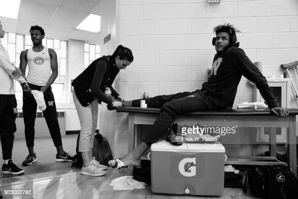 Spalding Hoophall Classic Westtown School Jakob Forrester having his foot taped up in training room before game vs IMG Academy at Blake Arena...