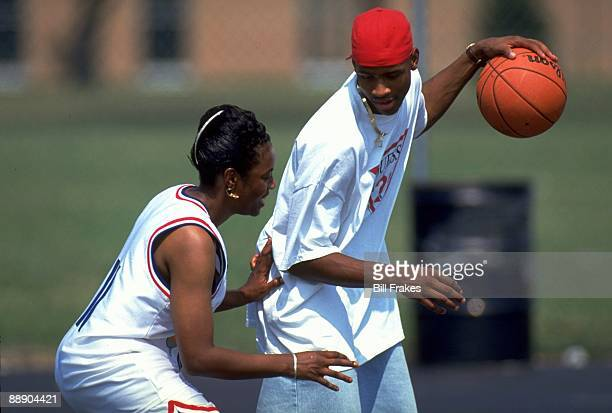 View of Bethel HS Allen Iverson playing basketball with his mother Ann Iverson Hampton VA 7/14/1993 CREDIT Bill Frakes