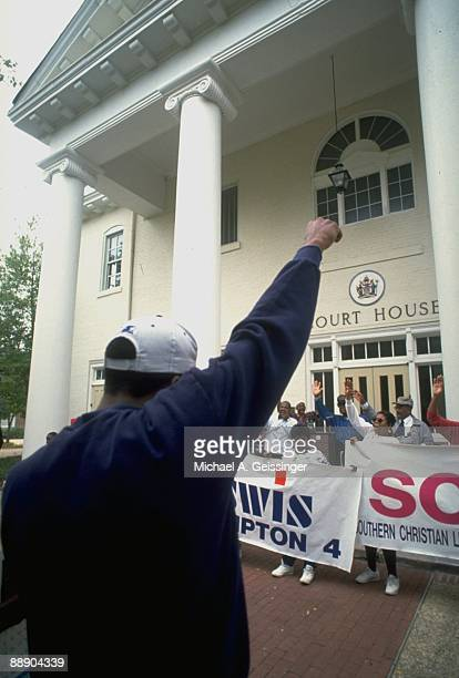 View of protestors holding signs at Hampton court house Protesting the conviction of Bethel HS studentathlete Allen Iverson Hampton VA CREDIT Michael...