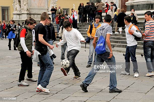 High School Boys And Soccer Ball Florence Italy